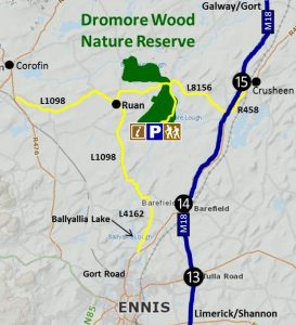 Map detailing Direction to Dromore Wood Nature Reserve